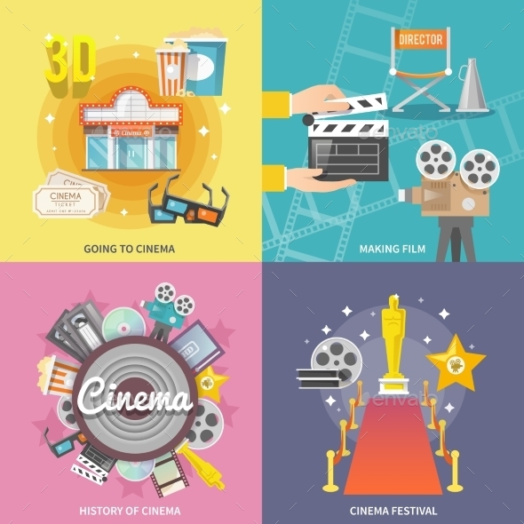 GraphicRiver Cinema 4 Flat Icons Square Composition 11956982