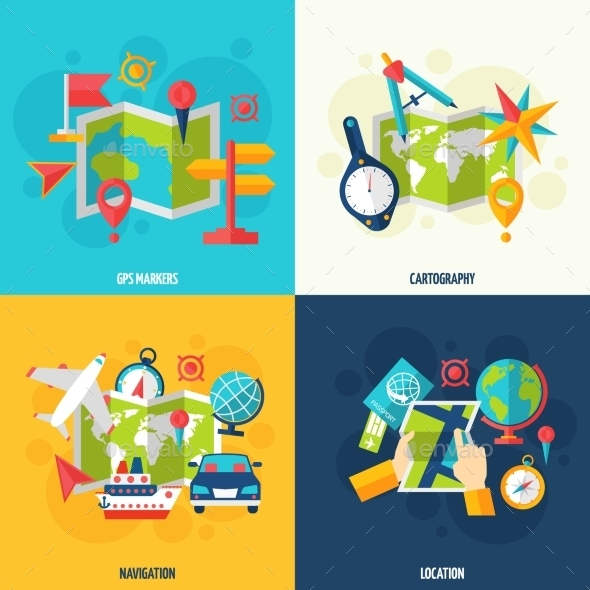 GraphicRiver Navigation And Location Flat Icon Set 11957082