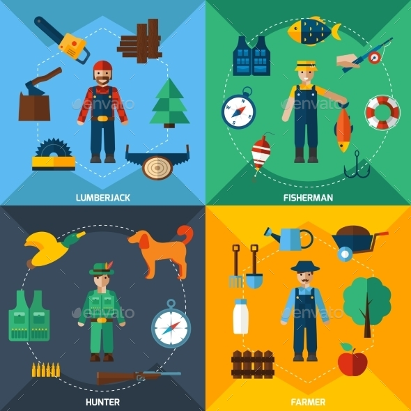 GraphicRiver Nature Management Professions Icon Set 11957096