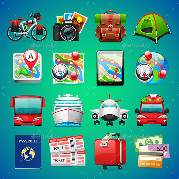 GraphicRiver Colorful Travel Icons 11957313
