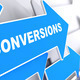 Conversions  on Blue Direction Arrow. - PhotoDune Item for Sale