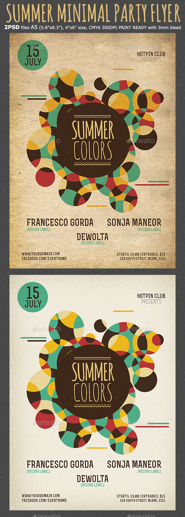 GraphicRiver Summer Colors Minimal Party Flyer Template 11958921