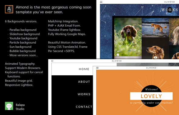 Almond – Minimal & Gorgeous Coming Soon Template (Under Construction) Download