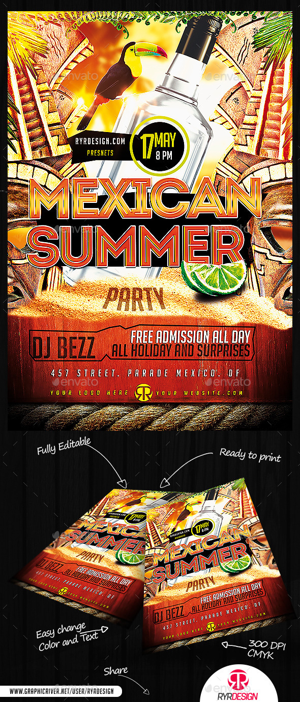 GraphicRiver Summer Mexican Party PSD Flyer 11959526