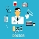 Doctor Therapist With Medical Icons, Flat Style - GraphicRiver Item for Sale