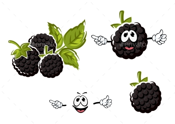 GraphicRiver Ripe Cartoon Blackberries Fruits Characters 11959543