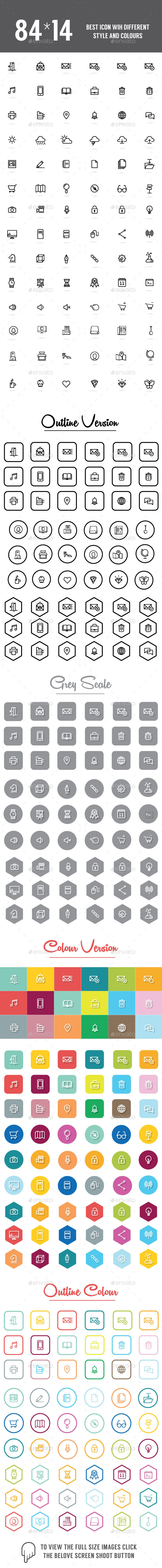 GraphicRiver 1176 Best Icons Set 11959719
