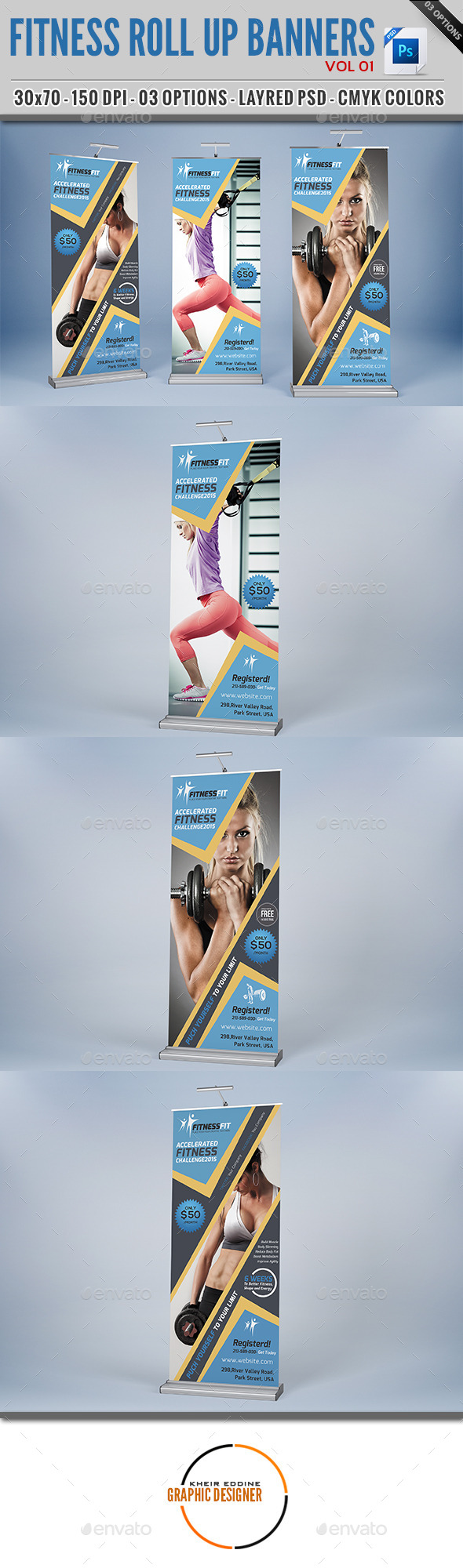 GraphicRiver Fitness Roll Up Banner Vol 01 11959804