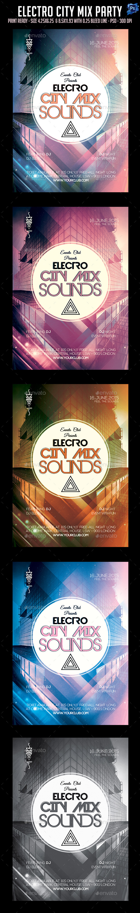 GraphicRiver Electro City Mix Sounds Flyer 11960522
