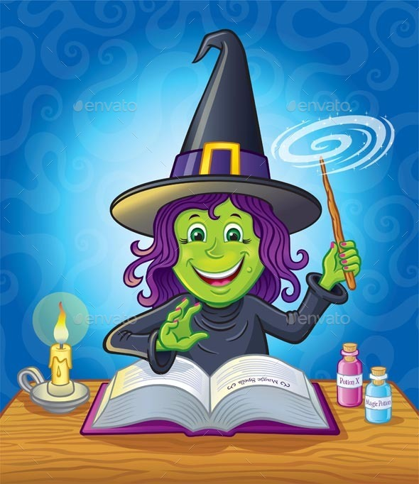 GraphicRiver Cute Girl witch Casting A Spell 11963229