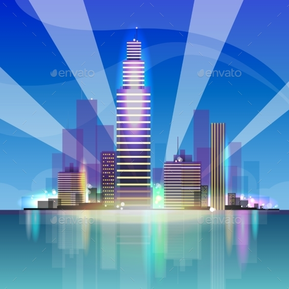 GraphicRiver City Skyscraper View Cityscape Background Night 11963313