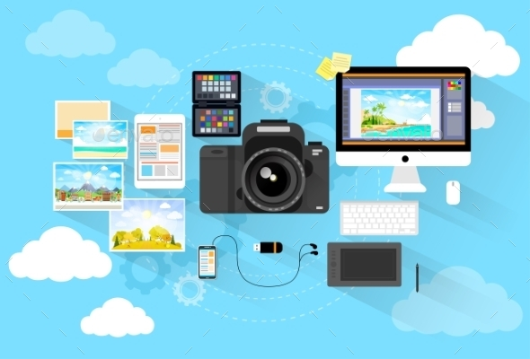 GraphicRiver Photographer Workspace Desk With Camera Computer 11963507