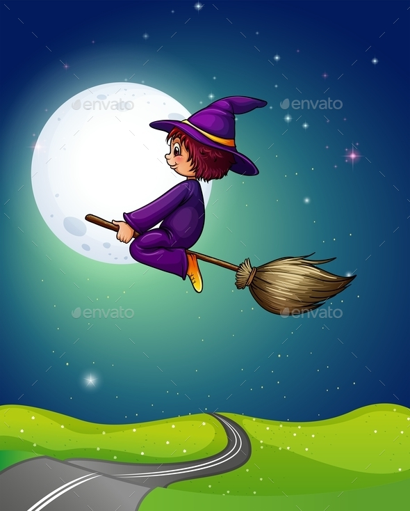 GraphicRiver Witch Flying 11963771