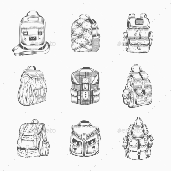 GraphicRiver Set Of Different Hiking Backpack 11964629