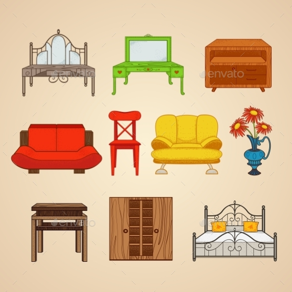 GraphicRiver Set Of Ten Illustrations Furniture 11964630
