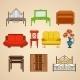 Set Of Ten Illustrations Furniture. - GraphicRiver Item for Sale