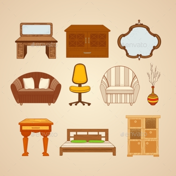 GraphicRiver Set Of Ten Illustrations Of Home Furnishings 11964632
