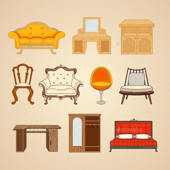 GraphicRiver Set Of Ten Illustrations Of Home Furnishings 11964634