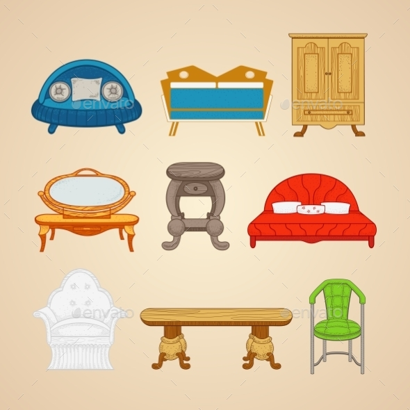 GraphicRiver Set Of Illustrations Of Home Furnishings 11964635