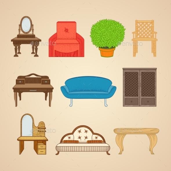 GraphicRiver Set Of Ten Illustrations Furniture 11964636