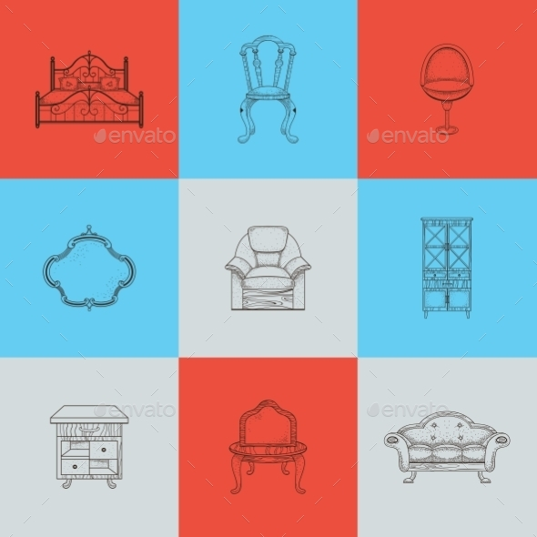 GraphicRiver Set Of Nine Illustrations Furniture For Home 11964644
