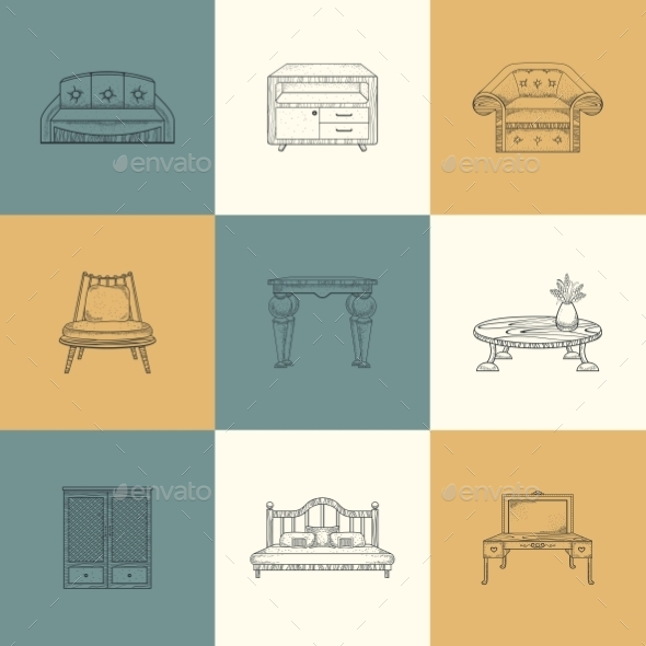 GraphicRiver Set Of Furniture Illustrations 11964645