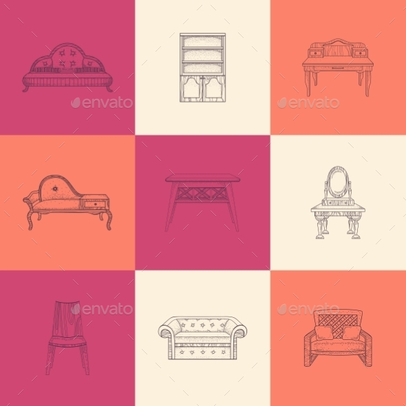 GraphicRiver Set Of Nine Illustrations Furniture 11964647