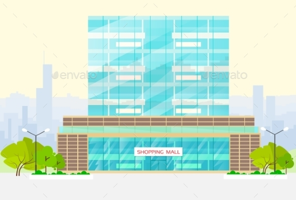 GraphicRiver Shopping Mall Building Exterior Vector 11964755