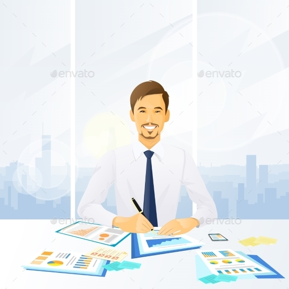 GraphicRiver Businessman Working With Documents Sitting 11965020