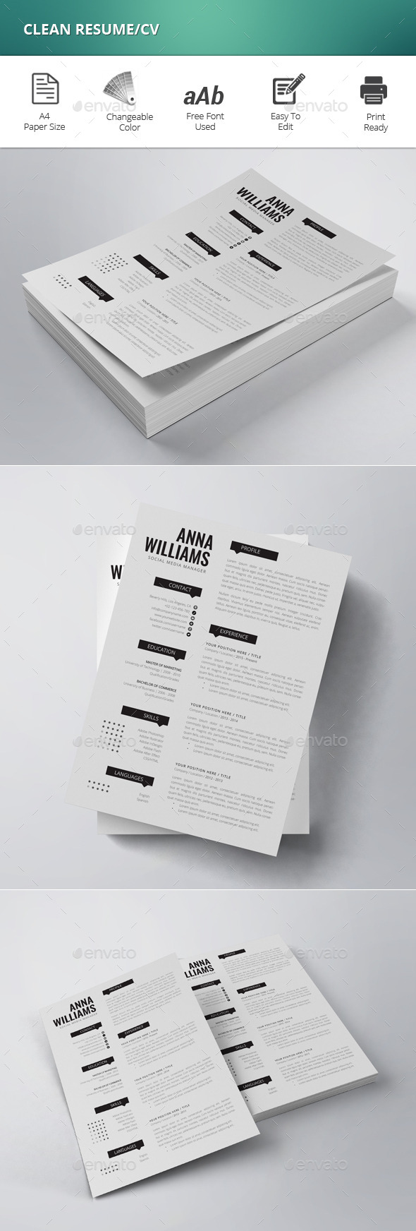 GraphicRiver Clean Resume CV 11965057