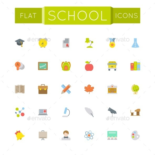 GraphicRiver Vector Flat School Icons 11966291