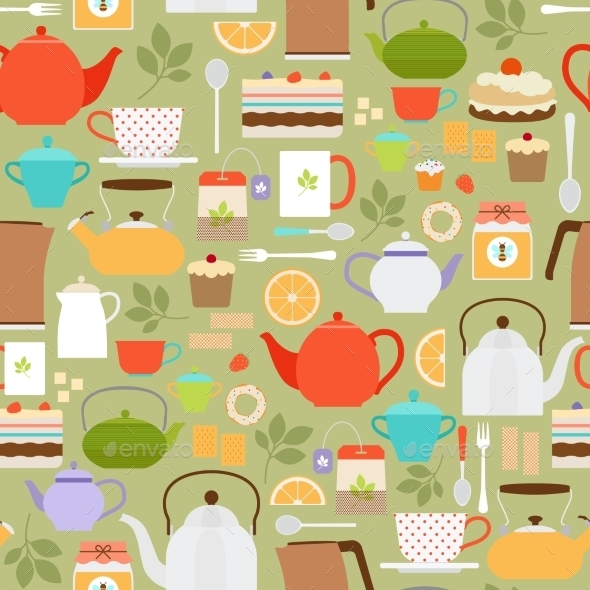 GraphicRiver Tea Pattern With Teapots And Cups 11966629