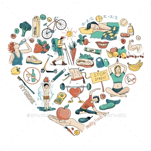 GraphicRiver Healthy Lifestyle Heart Background 11966974