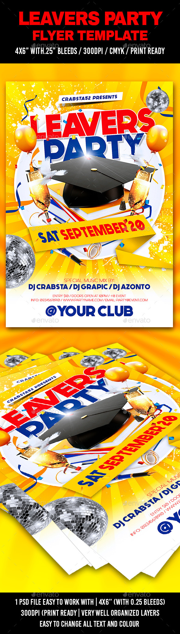 GraphicRiver Leavers Party Flyer Template 11967383