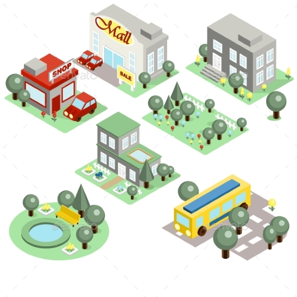 GraphicRiver Set Of The Isometric City 11967863