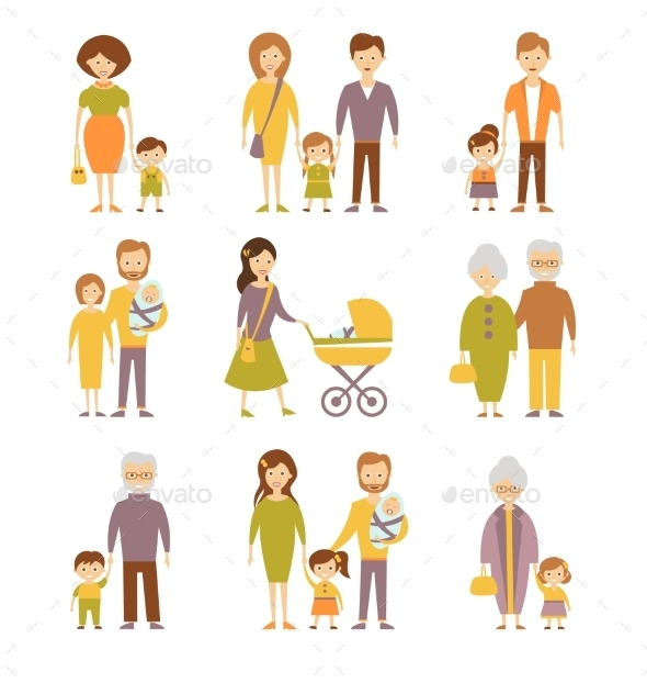 GraphicRiver Family Figures Icons Set 11967917