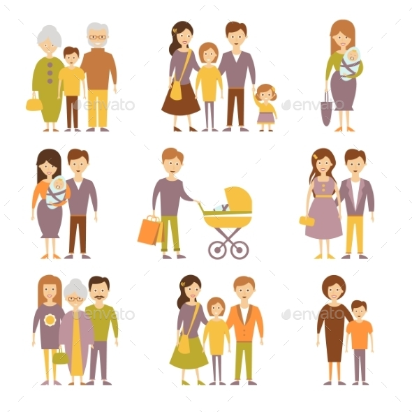 GraphicRiver Family Figures Icons Set 11967939