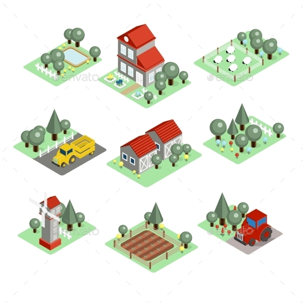 GraphicRiver Detailed Illustration Of a Isometric Farm 11967951