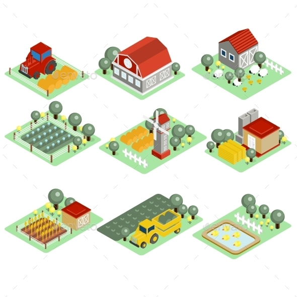 GraphicRiver Detailed Illustration Of a Isometric Farm 11967954