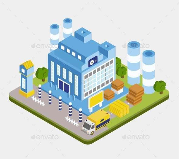 GraphicRiver Vector Isometric Factory Building 11967992
