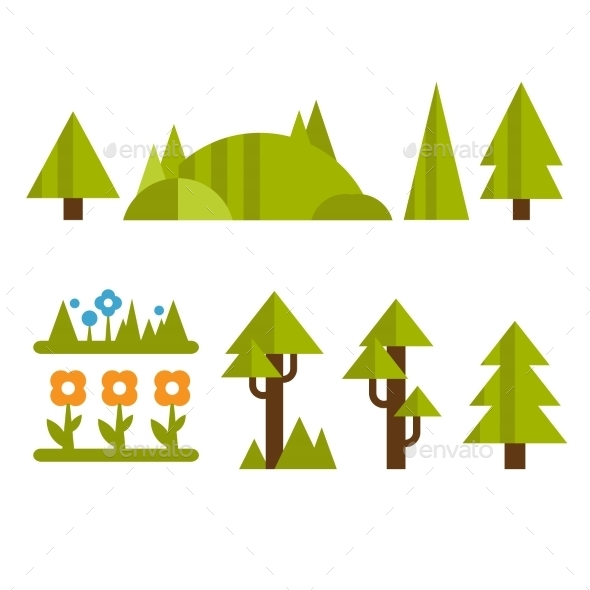 GraphicRiver Trendy And Beautiful Set Of Flat Forest Elements 11968000