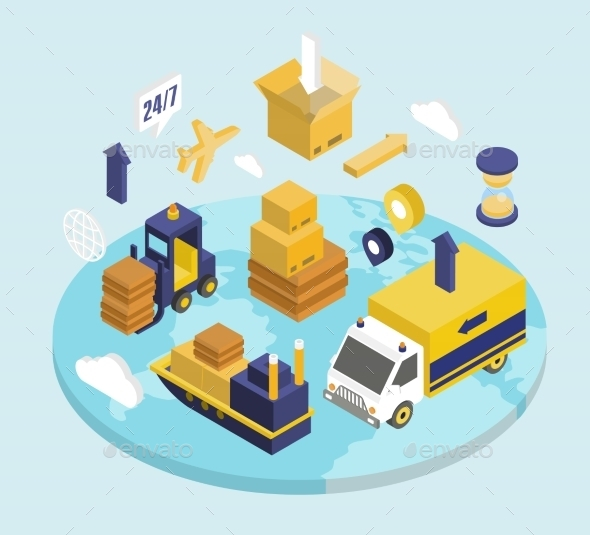 GraphicRiver Logistics Isometric Set 11968485