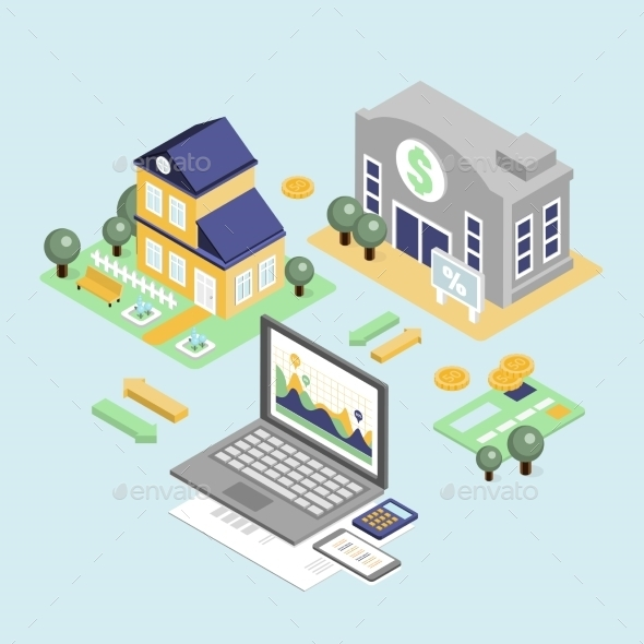 GraphicRiver Bank Credit And Home Loan Concept With Isometric 11968510