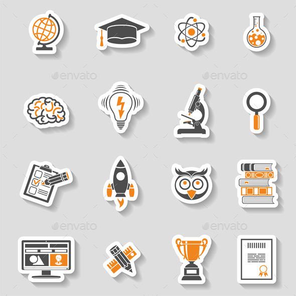 GraphicRiver Education Icon Sticker Set 11968701