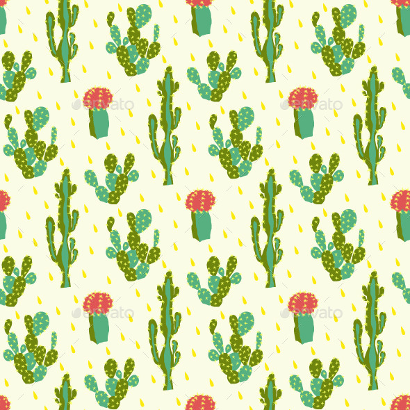 GraphicRiver Seamless Pattern With Cactus 11968965