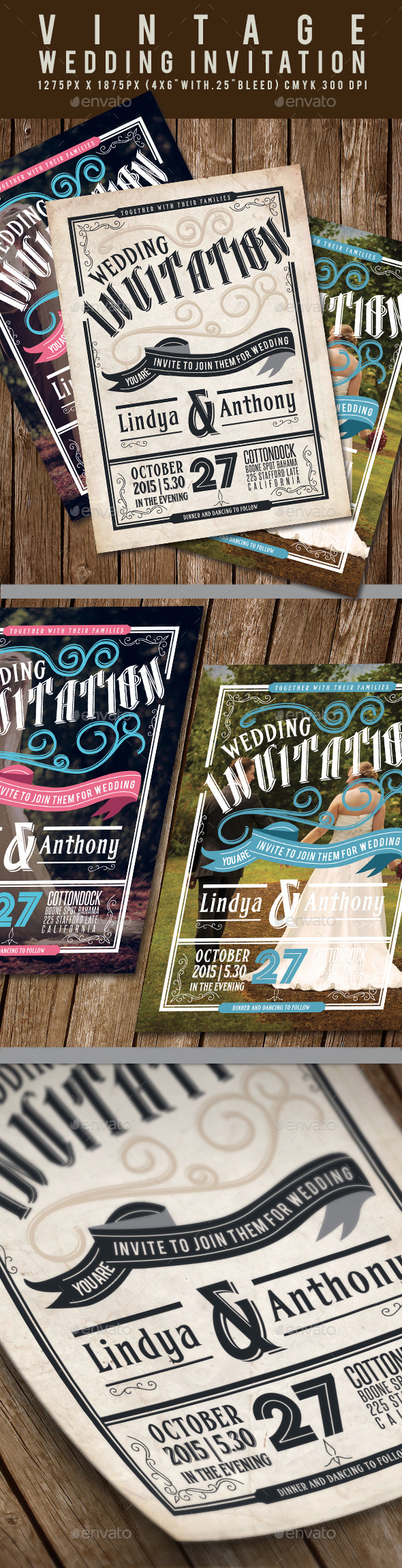 GraphicRiver Vintage Wedding Invitation 11969275