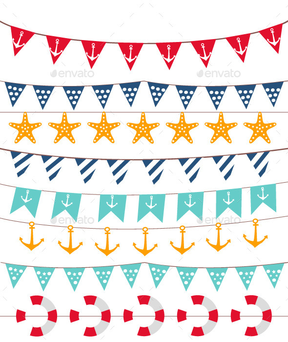 GraphicRiver Marine Bunting and Garland Set 11968403