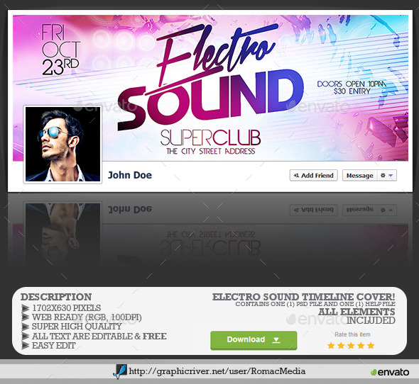 GraphicRiver Electro Sound Facebook Timeline Cover 11969363
