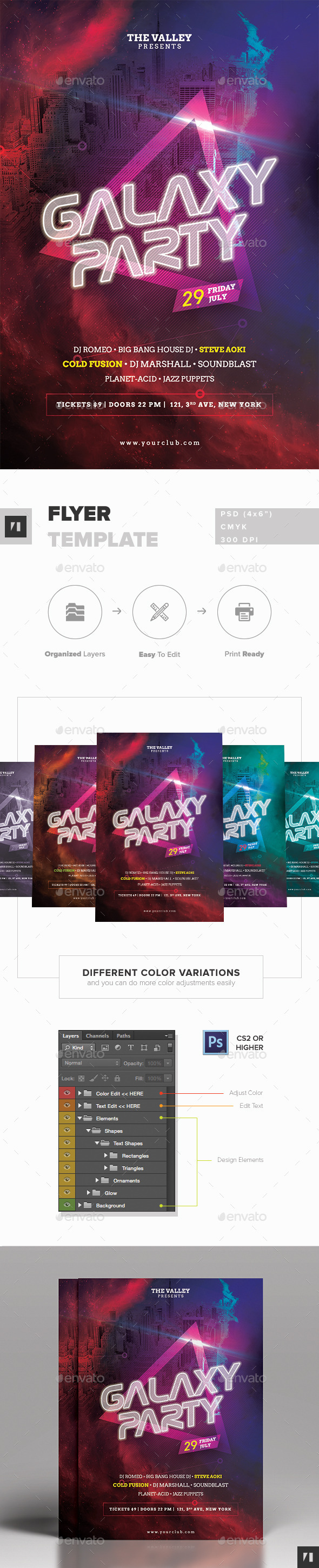 GraphicRiver Galaxy Party Flyer Template 11955556