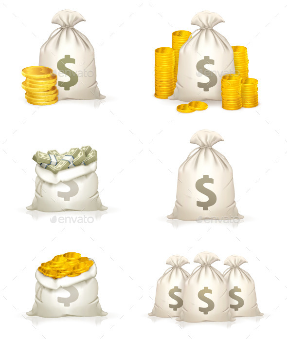 GraphicRiver Bags of Money Icons 11969570